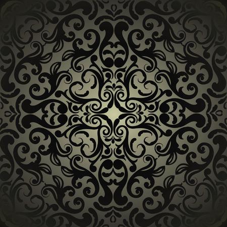 Damask wallpaper, black design Vectores