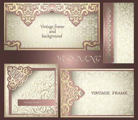 Sammlung Weinlese-Karten mit Luxus-Design-Elemente Standard-Bild - 37928989