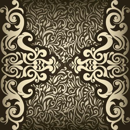 brawn: Vintage card with golden border on seamless pattern in brawn