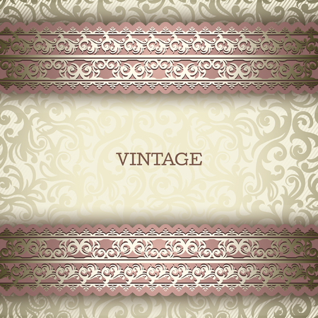 huwelijk: Uitstekende achtergrond, wenskaart, uitnodiging met kant ornament, abstract bloemenpatroon sjabloon voor het ontwerp Stock Illustratie