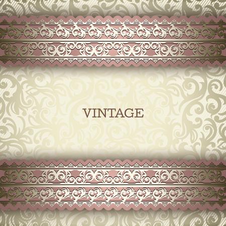 anniversario matrimonio: Vintage background, biglietto di auguri, invito con pizzo ornamento, modello astratto motivo floreale per la progettazione Vettoriali