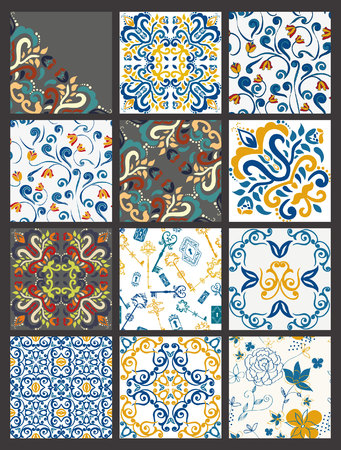 ceramic tiles: Collection of 12 ceramic tiles, orange-blue style Illustration