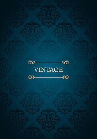 Vintage card with seamless damask pattern in blue Vectores