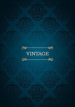 Uitstekende kaart met naadloze damast patroon in blauw Stock Illustratie
