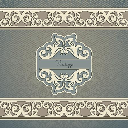 vignettes: Invitation card Baroque Blue and beige, Vintage frame, border, design elements