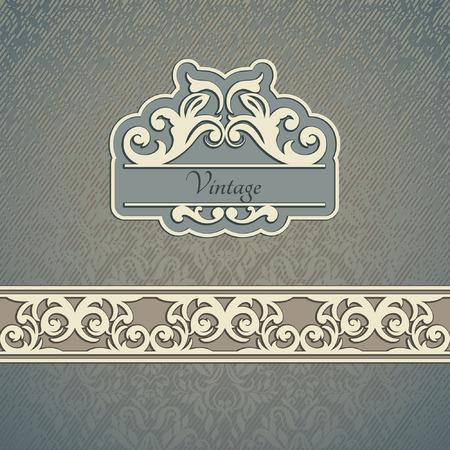 royal background: Invitation card Baroque Blue and beige, Vintage frame, border, design elements
