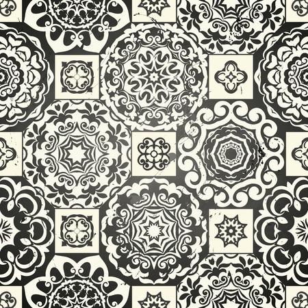 Nahtlose Patchwork-Muster aus schwarzen marokkanischen Fliesen, Verzierungen. Kann für Tapeten, Muster füllt, Oberflächenstrukturen, Textil-, Seite Abdeckung usw. Vektorgrafik