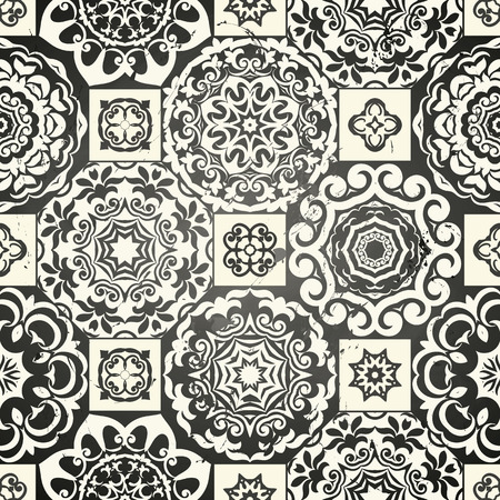 Seamless patchwork pattern from black Moroccan tiles, ornaments. Can be used for wallpaper, pattern fills, surface textures, textile, page cover etc.