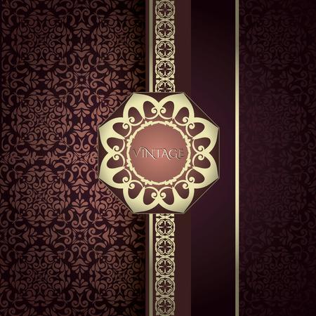 damask wallpaper: Vintage Card with damask background, luxury burgundy color design