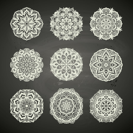 Circle lace ornament, round ornamental geometric pattern, snowflake decoration, chalkboard background etc