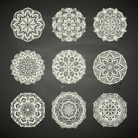 Circle lace ornament, round ornamental geometric pattern, snowflake decoration, chalkboard background etc