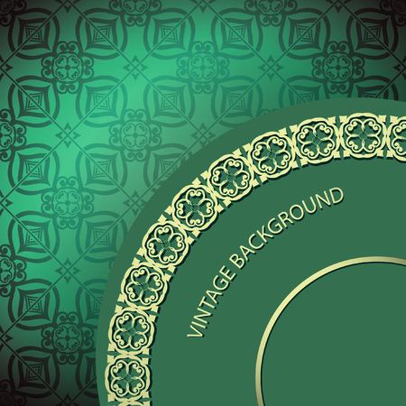 royal background: Card with golden green seamless background
