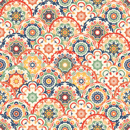Seamless abstract pattern of trendy colored abstract floral circles. Can be used for wallpaper, surface textures, textile etc.