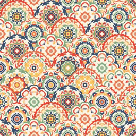 Modelo abstracto inconsútil de moda de colores círculos florales abstractos. Puede ser utilizado para el papel pintado, texturas de la superficie, textil, etc. Ilustración de vector
