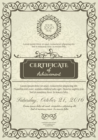 elements design: Classic Certificate of Achievement, vintage Frame, logo and design elements Illustration