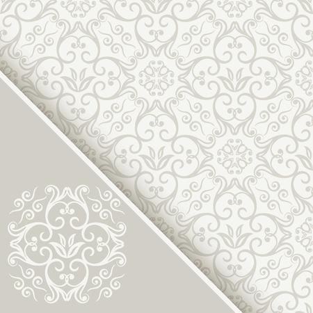 verschnörkelt: Nahtlose Hintergrund mit dekorativen weißen und hellgrauen Farbmuster, Einladungskarte mit Monogramm