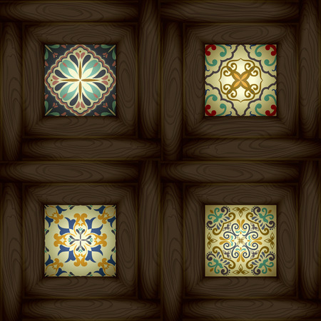 ceramic: Set of wooden vs ceramic tiles - patterns, blue-orange style