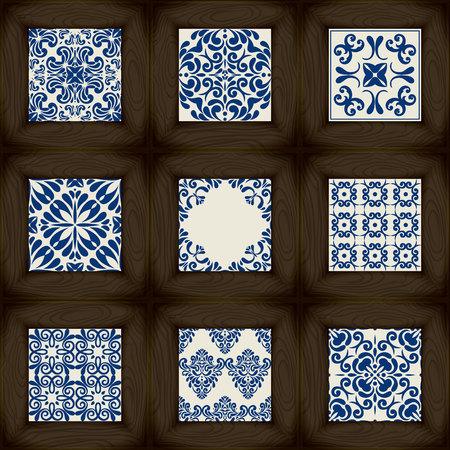 Set di legno vs piastrelle di ceramica - modelli, stile classico blu Archivio Fotografico - 45880490