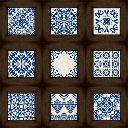 tiles: Set of wooden vs ceramic tiles - patterns, classic blue style Illustration