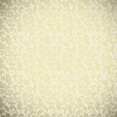 Seamless golden floral hand drawn background, abstract floral template for design