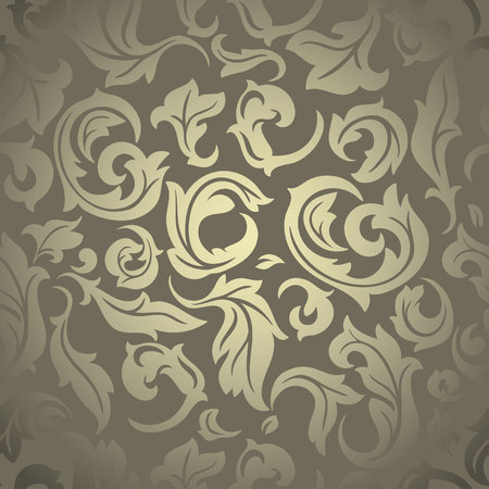 rococo: Luxury abstract floral wallpaper, golden-beige textured design Illustration