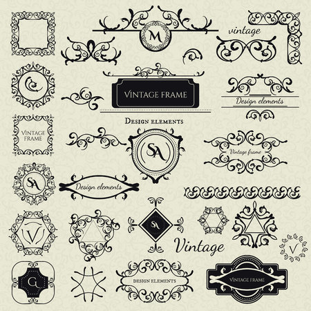 elements for logo: Royal Collection - 2 of Logo templates, Frames, Caligraphic elements, Borders, Corners, Monograms and others. Business sign, identity for Restaurant, Boutique, Cafe, Hotel etc. Vector Illustration