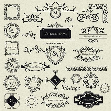 Royal Collection - 2 van Logo templates, Frames, Caligraphic elementen, Borders, Corners, Monogrammen en anderen. Bedrijfsteken, identiteit voor Restaurant, Boutique, Cafe, Hotel etc. Vector Stock Illustratie