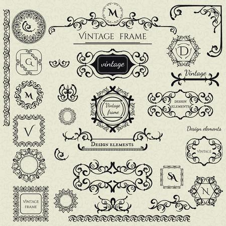 Royal Collection - 1 von Logo-Vorlagen, Rahmen, caligraphic Elemente, Bände, Corners, Monogramme und andere. Business-Zeichen, Identität für Restaurant, Boutique, Café, Hotel etc. Vector Standard-Bild - 45373328