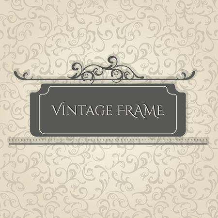 Vintage frame design template. Vector seamless beige elegant floral background