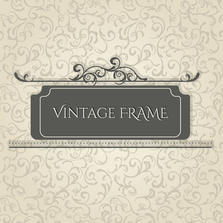 Vintage frame design template. Vector seamless beige elegant floral background