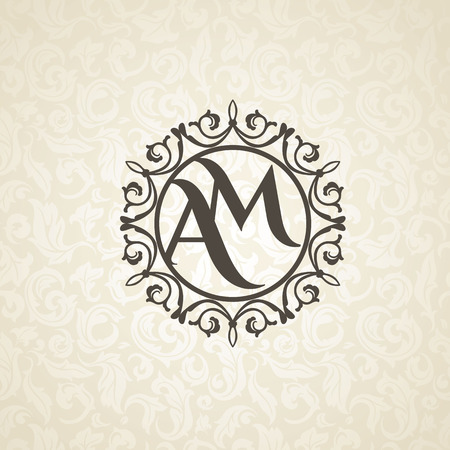 royal wedding: Modern monogram, emblem, logo design template. Vector frame, seamless beige floral background