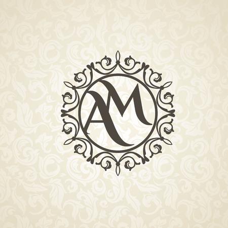 Modern monogram, emblem, logo design template. Vector frame, seamless beige floral background