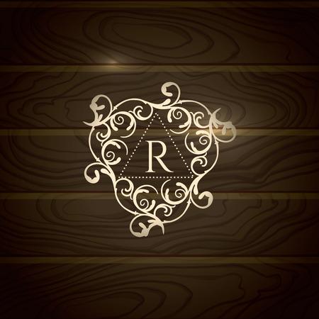 wood backgrounds: Royal Logo template flourishes calligraphic elegant ornament lines. Business sign, identity for Restaurant, Boutique, Cafe, Hotel etc. Modern monogram, Vector frame, wooden background Illustration