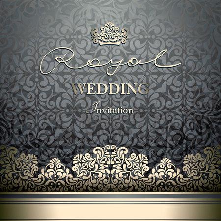 Invitation card Baroque black seamless abstract floral background, Vintage golden border and design elements