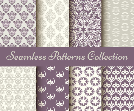 beige background: Classic collection of seamless patterns: damask, abstract in pastel violet and grey