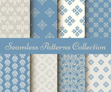 collection of seamless damask pattern in blue and grey Vectores