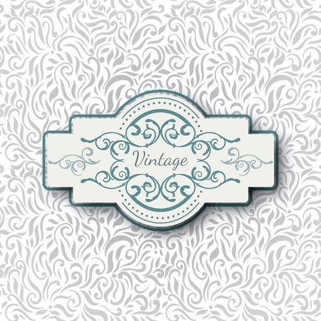 royal blue background: Vintage greeting card, invitation with vintage Frame and Design elements, Template for wedding invitation Illustration