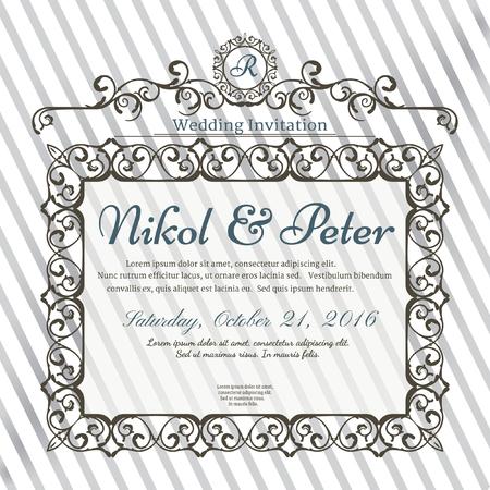 ornate frame: Vintage greeting card, invitation with vintage Frame and Design elements, Template for wedding