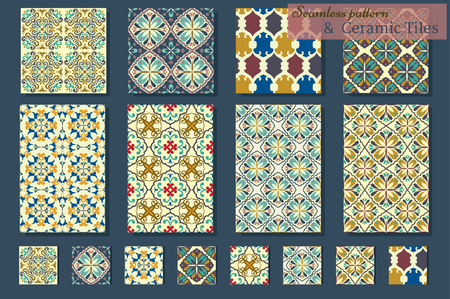 tile wall: Big Collection of 7 ceramic tiles and 8 patterns, blue-orange style