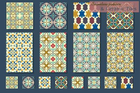 Große Sammlung von sieben keramischen Fliesen und 8 Muster, blau-orange Stil Standard-Bild - 47214329