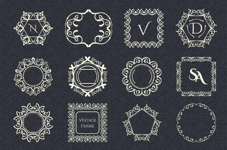 Collection of vintage frames Illusztráció