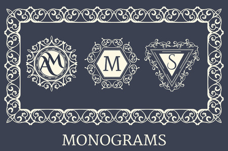 heraldic design: Set of Vintage Frames for Luxury Logos, Restaurant, Hotel, Boutique or Business Identity. Royalty, Heraldic Design with Flourishes Elegant Design Elements.
