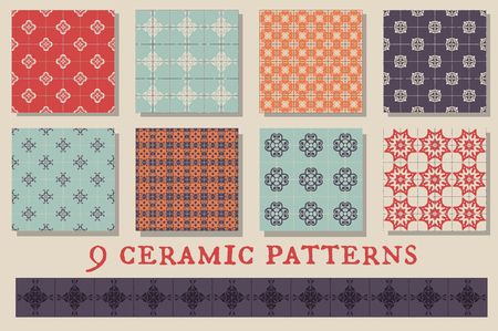 retro patterns: Set of 9 retro ceramic tiles patterns