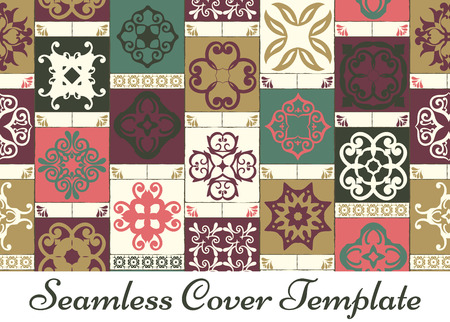tile pattern: Seamless patchwork pattern from RETRO green-mustard-pink-violet-beige style Moroccan tiles, ornaments. Can be used for wallpaper, surface textures, cover etc. Illustration