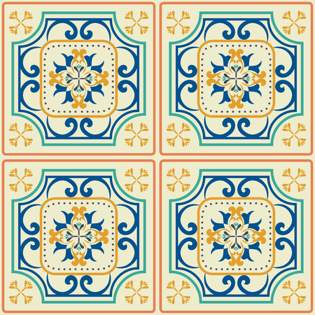 a tile: Tile pattern with classic orange-blue colored ceramic tiles.