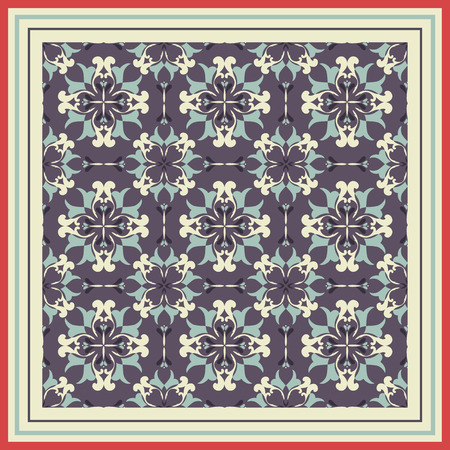 mosaic tiles: Tile pattern with classic blue-violet-beige colored ceramic tiles.