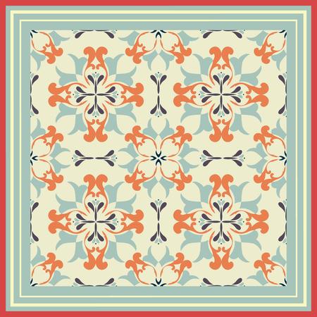 Tile pattern with classic orange-light green colored ceramic tiles. Illusztráció