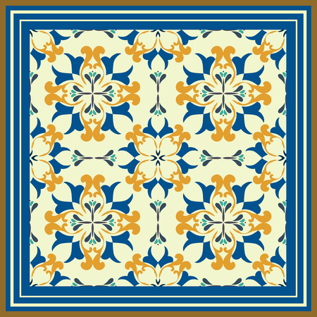 Tile pattern with classic orange-blue colored ceramic tiles.