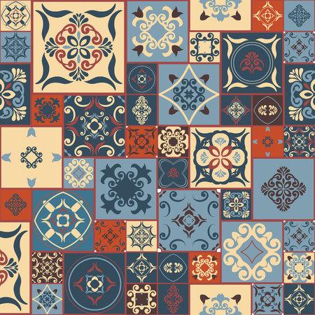 レトロなスタイルのブルー オレンジ レッド ベージュ モロッコのタイル、装飾品からタイル パターン。壁紙、表面のテクスチャ、カバー等に使用で  イラスト・ベクター素材