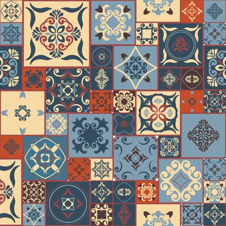 tiles: Tile PATTERN from RETRO blue-orange-red-beige style Moroccan tiles, ornaments. Can be used for wallpaper, surface textures, cover etc. Vintage Illustration
